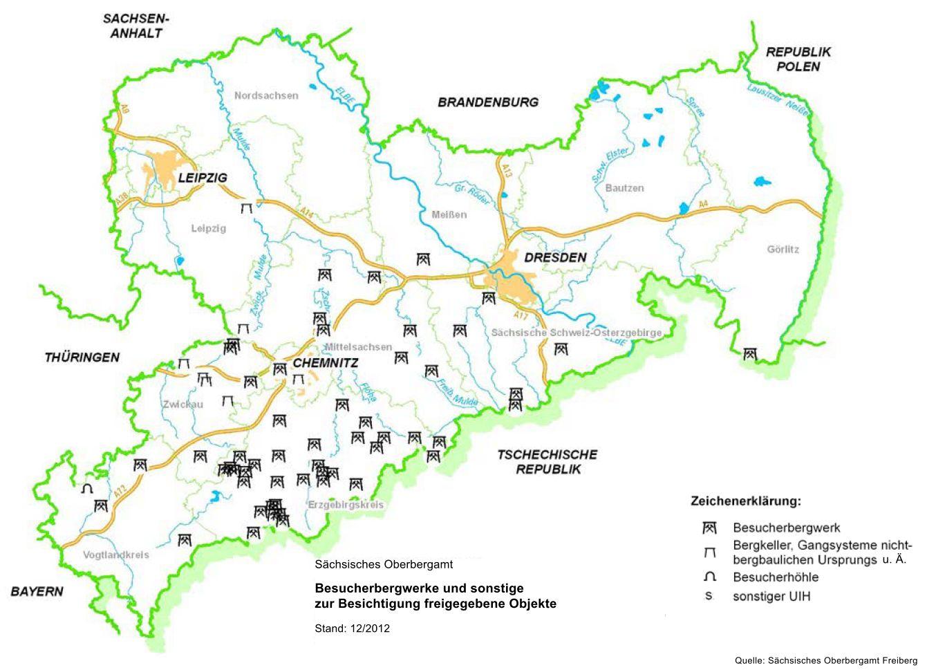 Übersichtskarte Besucherbergwerke Sachsen